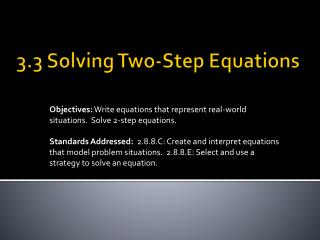 3.3 Solving Two-Step Equations