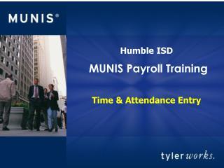 MUNIS Payroll Training