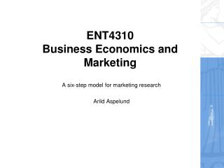 ENT4310 Business Economics and Marketing