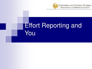 Effort Reporting and You