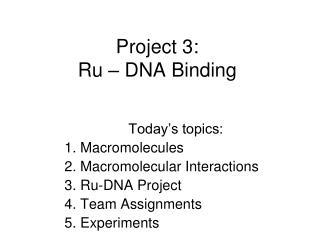 Project 3: Ru – DNA Binding