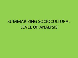 SUMMARIZING SOCIOCULTURAL LEVEL OF ANALYSIS