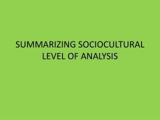 SUMMARIZING SOCIOCULTURAL LEVEL OF ANALYSIS