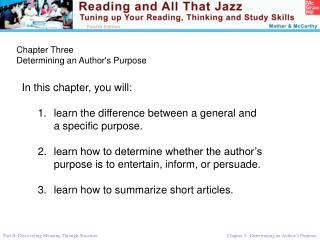 Chapter Three Determining an Author's Purpose