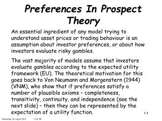 Preferences In Prospect Theory