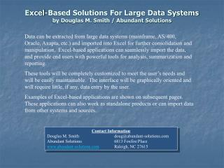 Excel-Based Solutions For Large Data Systems by Douglas M. Smith