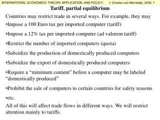Tariff, partial equilibrium