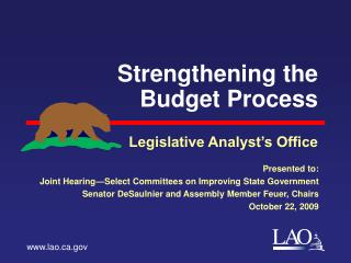 Strengthening the Budget Process