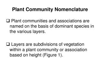 Plant Community Nomenclature