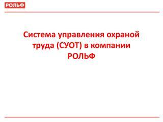 Система управления охраной труда (СУОТ) в компании  РОЛЬФ