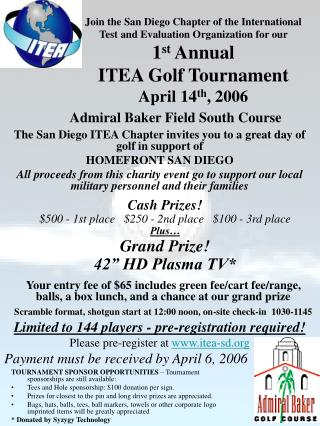 TOURNAMENT SPONSOR OPPORTUNITIES  � Tournament sponsorships are still available: