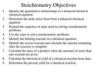 Stoichiometry Objectives