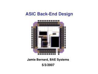 ASIC Back-End Design