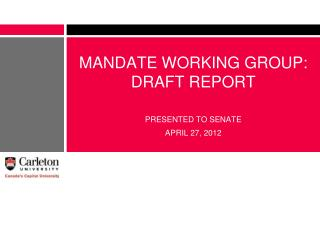 MANDATE WORKING GROUP: DRAFT REPORT