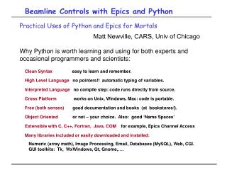 Beamline Controls with Epics and Python