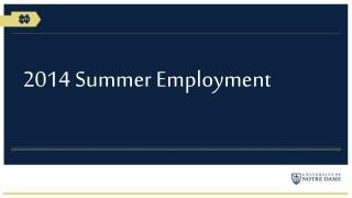 2014 Summer Employment