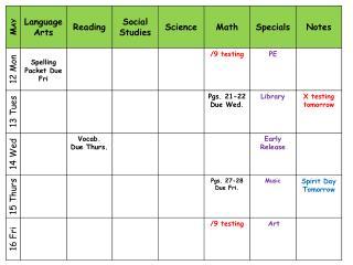 Homework Agenda 2013 2014