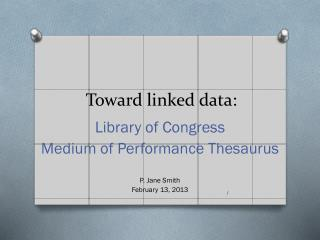 Toward linked data: