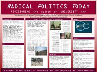 R ADICAL  P OLITICS  T ODAY REVISIONING   the  spaces  of   UNIVERSITY   AND   COMMUNITY
