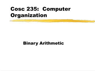 Cosc 235:  Computer Organization