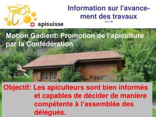 Motion Gadient: Promotion de l'apiculture par la Confédération