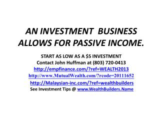 AN INVESTMENT  BUSINESS ALLOWS FOR PASSIVE INCOME.