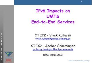 IPv6  Impacts on UMTS End-to-End Services