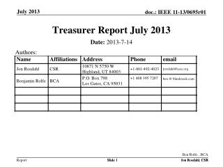 Treasurer Report July 2013