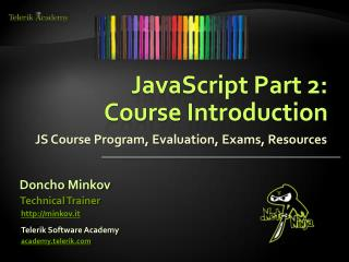 JavaScript Part 2:  Course Introduction