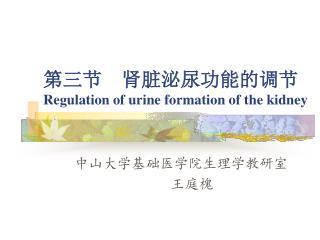第三节  肾脏泌尿功能的调节 Regulation of urine formation of the kidney