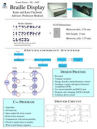 Senior Project – EE – 2005 Braille Display Katie and Kara Chylinski Advisor: Professor Hedrick