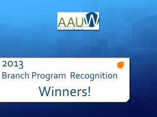 2013 Branch Program  Recognition