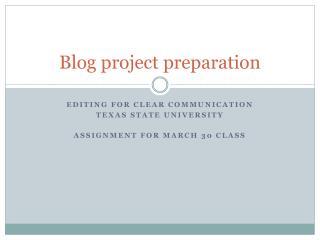 Blog project preparation
