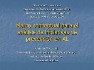 Marco conceptual para el an�lisis de iniciativas de prevenci�n en AL