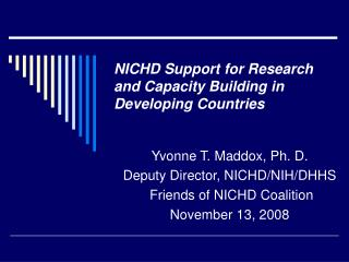 NICHD Support for Research and Capacity Building in  Developing Countries