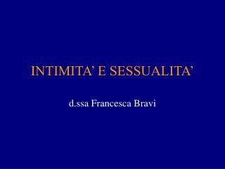 INTIMITA' E SESSUALITA'