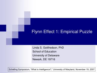 Flynn Effect 1: Empirical Puzzle