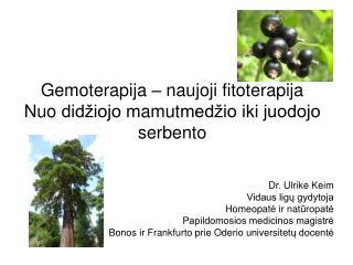 Gemoterapi ja  –  naujoji fitoterapija Nuo didžiojo m amut medžio iki juodojo serbento