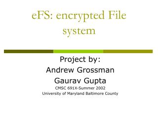 EFS: encrypted File system
