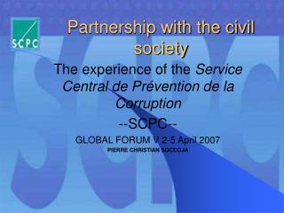 Partnership with the civil society
