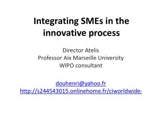 I ntegrating SMEs  in the innovative process
