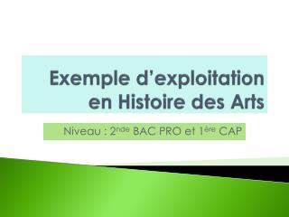 Exemple d'exploitation en Histoire des Arts