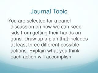 Journal Topic