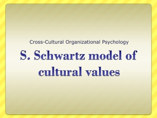 Cross-Cultural Organizational Psychology