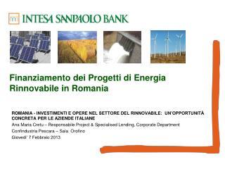 Finanziamento dei Progetti di Energia Rinnovabile in Romania