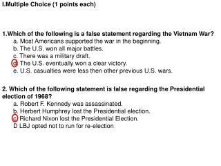 I.Multiple  Choice (1 points each)