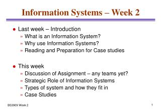 Information Systems � Week 2