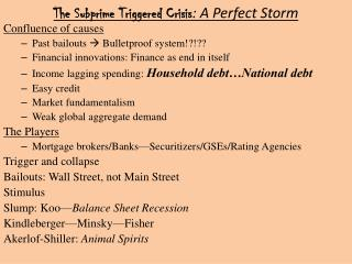 The Subprime Triggered Crisis : A Perfect Storm