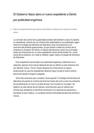 El Gobierno Vasco abre un nuevo expediente a Dentix por publ