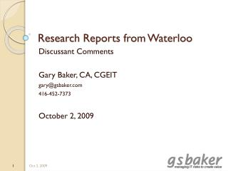 Research Reports from Waterloo